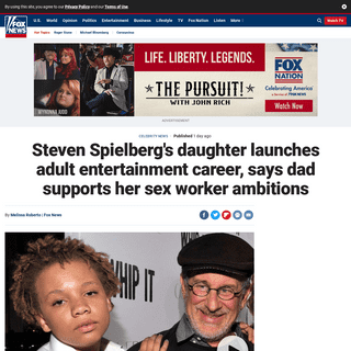 Steven Spielberg's daughter launches adult entertainment career, says dad supports her sex worker ambitions - Fox News