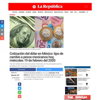Precio del dólar en México hoy miércoles 19 de febrero de 2020 - Tipo de cambio - Banamex - SAT - Peso mexicano - nchs - Mund