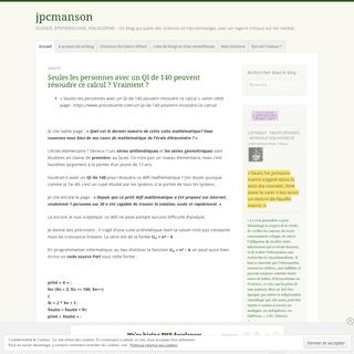 jpcmanson – SCIENCE, ÉPISTÉMOLOGIE, PHILOSOPHIE – Un blog qui parle des sciences et l'épistémologie, avec un regard crit