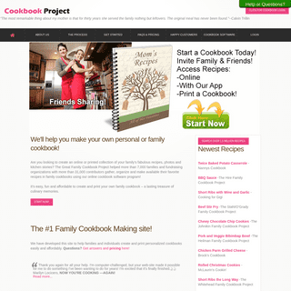 Family Cookbook Project - Cookbook software to start your own family cookbook. Recipe software for wedding favor bridal party id