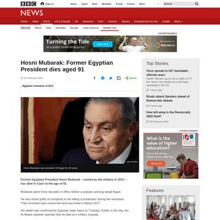Hosni Mubarak- Former Egyptian President dies aged 91 - BBC News
