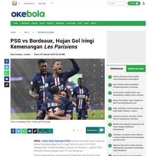 PSG vs Bordeaux, Hujan Gol Iringi Kemenangan Les Parisiens - Okezone Bola