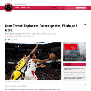 Game Thread- Toronto Raptors vs. Indiana Pacers updates, TV info, and more - Raptors HQ