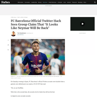 FC Barcelona Official Twitter Hack Sees Group Claim That 'It Looks Like Neymar Will Be Back'