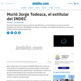 ArchiveBay.com - www.ambito.com/politica/jorge-todesca/murio-el-economista-jorge-todesca-n5084352 - Murió Jorge Todesca, el extitular del INDEC - Jorge Todesca, INDEC, economistas, Inflación