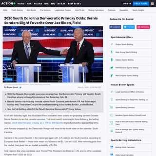 ArchiveBay.com - www.actionnetwork.com/politics/2020-south-carolina-democratic-primary-odds-bernie-sanders-joe-biden - 2020 South Carolina Democratic Primary Odds- Bernie Sanders Slight Favorite Over Joe Biden, Field - The Action Network