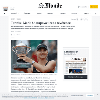 Tennis- Maria Sharapova tire sa révérence