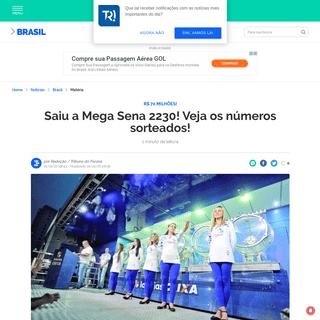 Saiu a Mega Sena 2230! Veja os números sorteados! - Brasil - Tribuna PR - Paraná Online
