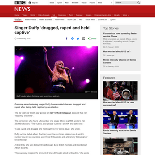 ArchiveBay.com - www.bbc.com/news/uk-wales-51637265 - Singer Duffy 'drugged, raped and held captive' - BBC News
