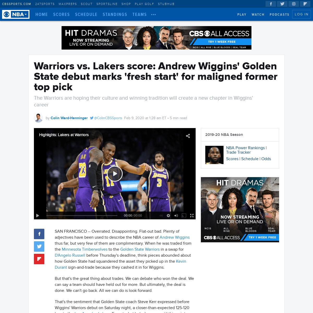 Warriors vs. Lakers score- Andrew Wiggins' Golden State debut marks 'fresh start' for maligned former top pick - CBSSports.com