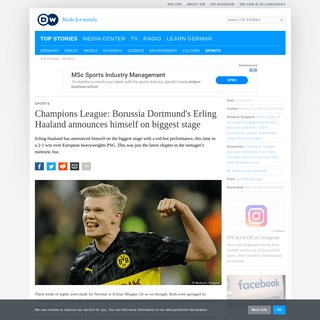 Champions League- Borussia Dortmund′s Erling Haaland announces himself on biggest stage - Sports- German football and major in