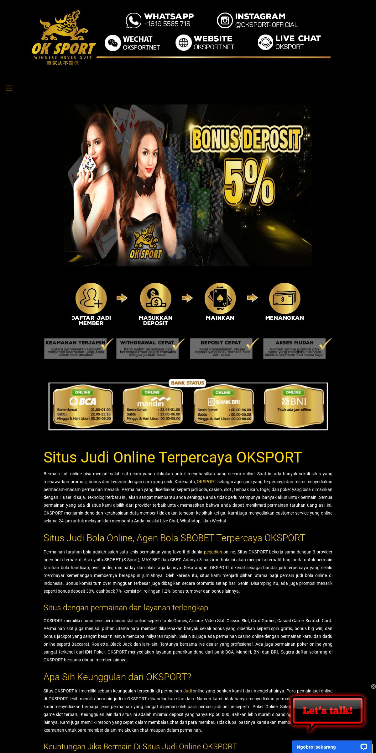 OKSport - Situs Judi Online dan Casino Online dengan Komisi TERBESAR 1.2-
