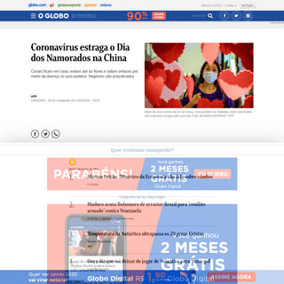 Coronavírus estraga o Dia dos Namorados na China - Jornal O Globo