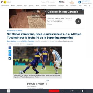 Boca Juniors vs. Atlético Tucumán- sin Carlos Zambrano, el 'Xeneize' ganó 2-0 por la fecha 19 de la Superliga Argentina - RPP