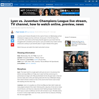 Lyon vs. Juventus- Champions League live stream, TV channel, how to watch online, preview, news - CBSSports.com