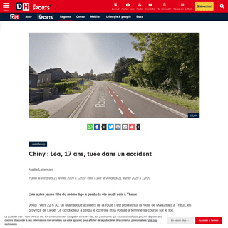 ArchiveBay.com - www.dhnet.be/regions/luxembourg/chiny-lea-17-ans-tuee-dans-un-accident-5e4fbb7cd8ad58685c25f32b - Chiny - Léa, 17 ans, tuée dans un accident - DH Les Sports+