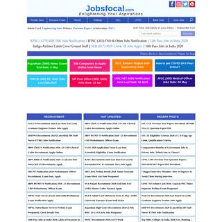 Jobsfocal 2020 सरकारी नौकरी -Entrance Exams– Government, Pvt Jobs