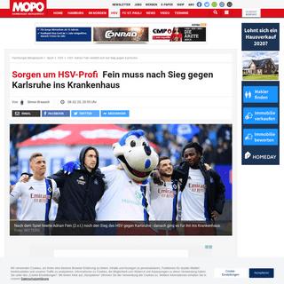 HSV- Adrian Fein verletzt sich bei Sieg gegen Karlsruhe - MOPO.de