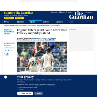England falter against South Africa after Crawley and Sibley's stand - Sport - The Guardian