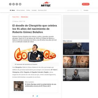 El doodle de Chespirito que celebra los 91 años del nacimiento de Roberto Gómez Bolaños