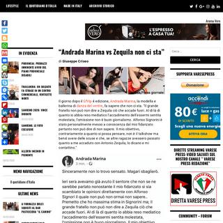 """""""Andrada Marina vs Zequila non ci sta"""" – Varese Press giornale online"""