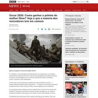 Oscar 2020- Como ganhar o prêmio de melhor filme- Veja o que a maioria dos vencedores tem em comum - BBC News Brasil
