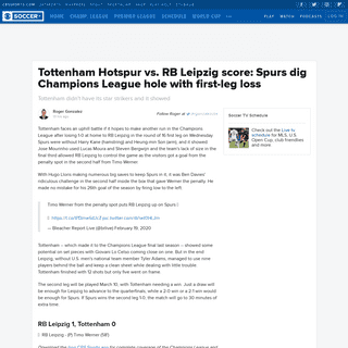 Tottenham Hotspur vs. RB Leipzig score- Spurs dig Champions League hole with first-leg loss - CBSSports.com