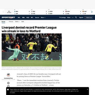 Liverpool denied record Premier League win streak in loss to Watford - Sportsnet.ca