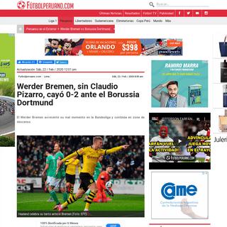 Werder Bremen, sin Claudio Pizarro, cayó 0-2 ante el Borussia Dortmund