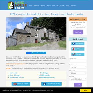 Land House Farm - Smallholdings, farms, rural properties, land, equestrian properties for sale and rent.