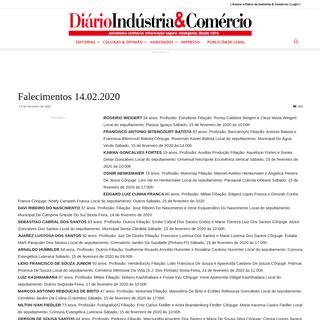 Falecimentos 14.02.2020 - Diário Indústria & Comércio
