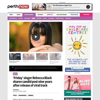ArchiveBay.com - www.perthnow.com.au/entertainment/music/friday-singer-rebecca-black-shares-candid-post-nine-years-after-release-of-viral-track-ng-b881460450z - 'Friday' singer Rebecca Black shares candid post nine years after release of viral track - PerthNow