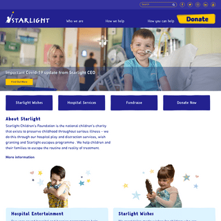 Starlight Children's Foundation – Brightening the lives of seriously ill children and entertaining over half a million childre