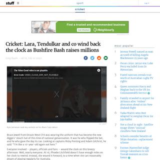 Cricket- Lara, Tendulkar and co wind back the clock as Bushfire Bash raises millions - Stuff.co.nz