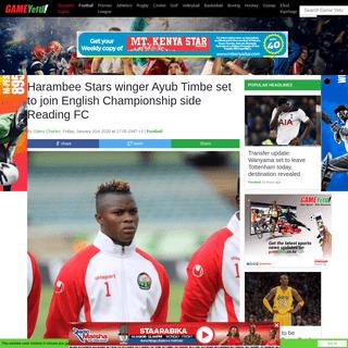 ArchiveBay.com - www.standardmedia.co.ke/sports/article/2001358700/harambee-stars-winger-ayub-timbe-set-to-join-english-championship-side-reading-fc - The Standard - Kenya- Harambee Stars winger Ayub Timbe set to join English Championship side Reading FC - The Standard - Kenya -