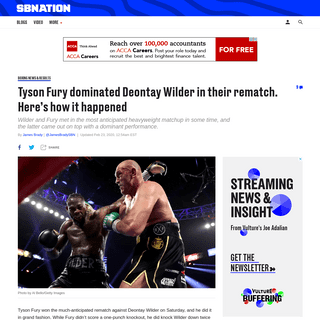 Tyson Fury dominated Deontay Wilder in their rematch. Here's how - SBNation.com