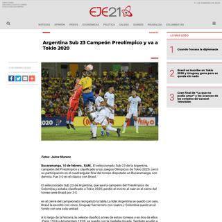 Argentina Sub 23 Campeón Preolímpico y va a Tokio 2020 - Eje21