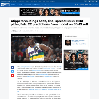 Clippers vs. Kings odds, line, spread- 2020 NBA picks, Feb. 22 predictions from model on 35-19 roll - CBSSports.com
