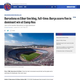 Barcelona vs Eibar live blog, full-time- Barça score five in dominant win at Camp Nou - Barca Blaugranes