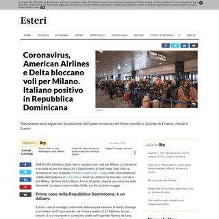 Coronavirus, American Airlines e Delta bloccano voli per Milano. Italiano positivo in Repubblica Dominicana - la Repubblica