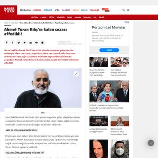 Son dakika Sivas hükümlüsü affedildi! Ahmet Turan Kılıç'ın kalan cezası affedildi! - Son Dakika Haberleri