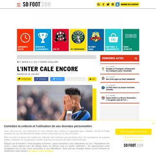 L'Inter cale encore - Serie A - J21 - Inter-Cagliari - 26 janvier 2020 - SOFOOT.com
