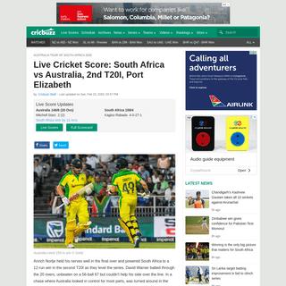 Live Cricket Score- South Africa vs Australia, 2nd T20I, Port Elizabeth - Cricbuzz.com