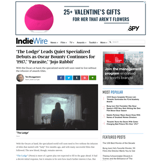 'The Lodge' Leads Quiet Specialized Debuts as Oscar Bounty Continues - IndieWire