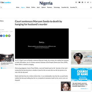 Court sentences Maryam Sanda to death by hanging for husband's murderNigeria — The Guardian Nigeria News – Nigeria and Wor