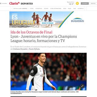 EN VIVO - Lyon vs Juventus- horario, formaciones y cómo verlo en vivo - Champions League