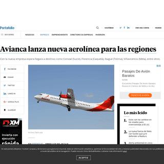 ArchiveBay.com - www.portafolio.co/negocios/empresas/avianca-lanza-nueva-aerolinea-para-las-regiones-538067 - Avianca lanza nueva aerolínea para las regiones - Empresas - Negocios - Portafolio