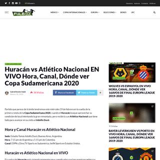 Huracán vs Atlético Nacional EN VIVO Hora, Canal, Dónde ver Copa Sudamericana 2020