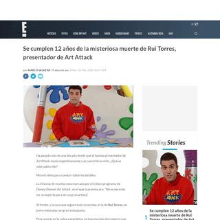 Se cumplen 12 años de la misteriosa muerte de Rui Torres, presentador de Art Attack - E! News