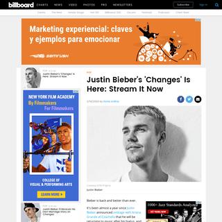 Justin Bieber's 'Changes'- Stream It Now- Billboard - Billboard